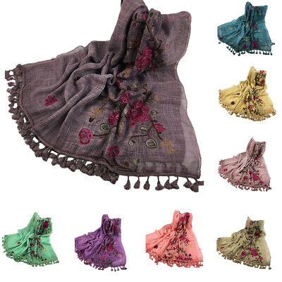 Women Sequin Tassel Long Scarf Wrap Shawl Muslim Hijab Scarves Headwear 180*90cm