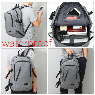 Anti-theft Men Women USB Charge Port Laptop Notebook Backpack School Travel Bag