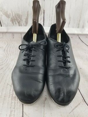 Leo's Giordano #5028 Tap Black Leather Dance Shoes Ultra Tone wide Size 7.5M