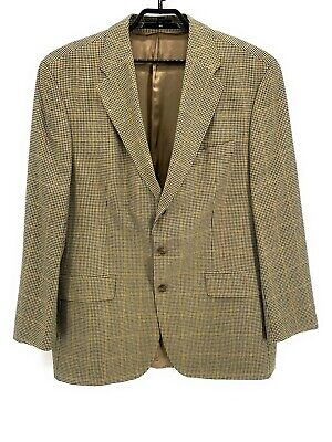 Chaps Ralph Lauren Mens Sport Coat Jacket Beige 46L Long Houndstooth Windowpane