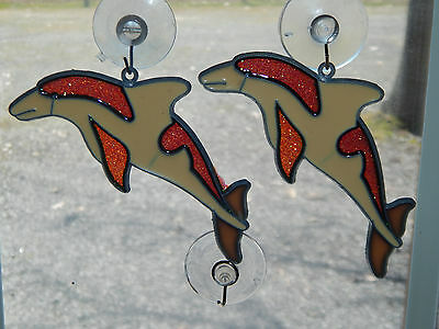 (2) NOS Dolphin Yellow/Pink/White Sun Catcher Ornaments