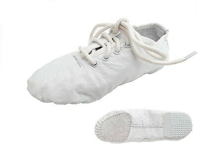 Jazz Dance Modern Stage Leather White Shoes Split Sole