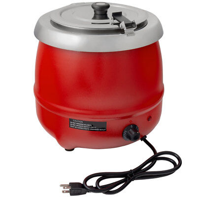 11 Qt RED Electric Food Soup Kettle Warmer Commercial Countertop Food Restaurant