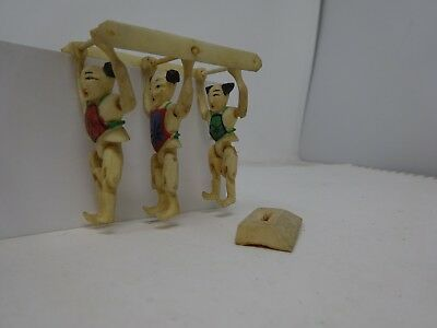 Japanese Carved Bone Miniature Acrobat Toys Tumbling Figurines