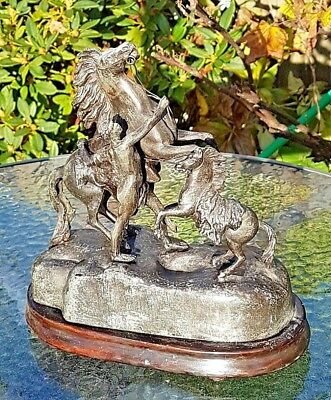 Antique Large Spelter Figurine Statue Nude Man with Two Horses