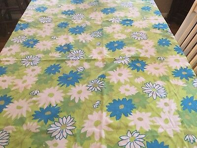 """Vintage Cotton Print Tablecloth, Flowers, Turquoise, Green, 52"""" X 65.5"""""""