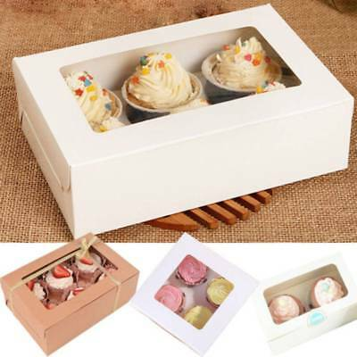 2/4/6 Kraft Paper Cupcake Box Holder Muffin Case Container Birthday Gift Packing