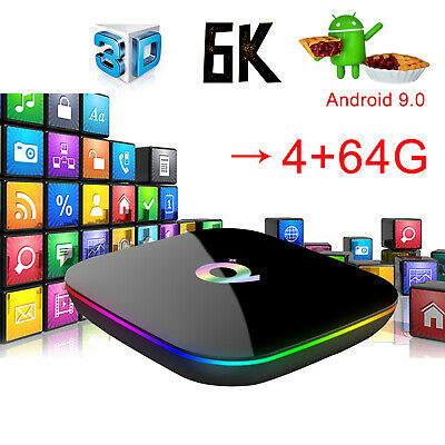 2019 6K Q plus 4+64G Android 8.1 Quad Core Smart TV Box WIFI 3D HDMI H.265 Media