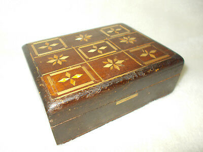 USSR Russian Vintage 1980's Carved Wooden Wood Straw Jewelry Trinket Box