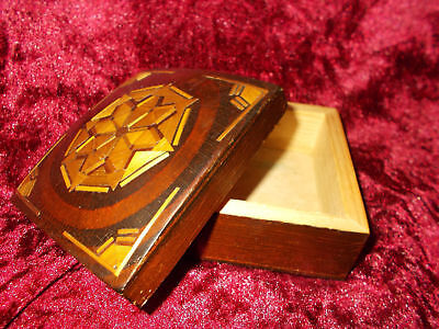 USSR Russian Vintage 1970 Carved Wooden Straw Jewelry Trinket Box Latvia