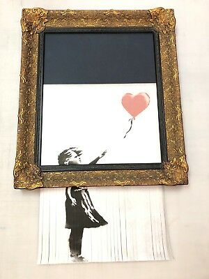 Banksy Girl with Balloon reproduction shredded canvas print in frame Graffiti