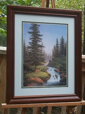 Vintage Home Interiors Framed Wilderness Deer Scene Picture Print