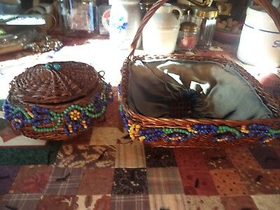 Set Of Two Nice Old Vintage Beaded Sewing Baskets With Handle & Lid