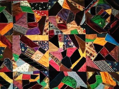 AMAZING Antique Crazy Quilt Early 1900s Hand Made, Hand Embroidered Heirloom