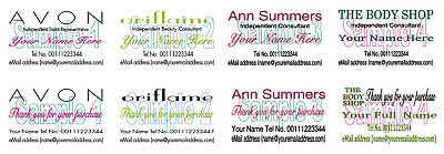 BUSINESS CARDS 50 THANK YOU Avon Oriflame Ann Summers The Body Shop
