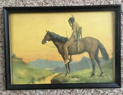 "Old Indian Print. In Old Frame. 10.5"" X 7.5"""