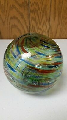 "Hand Blown Art Glass Ball Ornament Orb Large 5"" Rainbow Vintage"