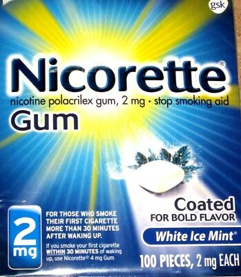 Nicorette Coated Gum White Ice Mint 2mg 100 Piece BOLD FLAVOR EXP 2021