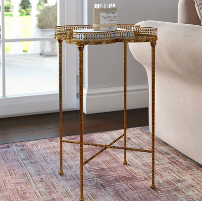 Antique French Side Table Mirrored Glass Furniture Small Vintage Tray Metal Gold
