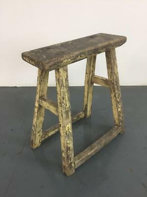 VINTAGE RUSTIC ANTIQUE WOODEN STOOL MILKING EXTRA LARGE No L227
