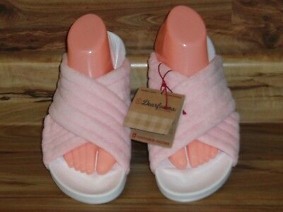 94ed9181e Women s Dearfoams Terrycloth Indoor outdoor Contoured Footbed Slippers - Sz  ...