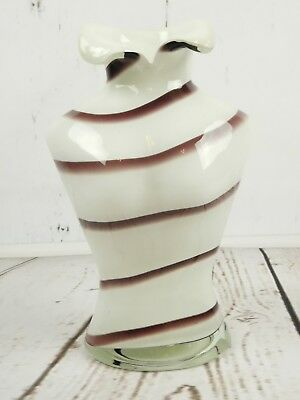 Sexy Art Glass Hand Blown Female Torso Bust Vase Figure White Mauve Stripes