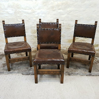 Jacobean C17th Style Set of 4 Oak & Leather Dining Chairs