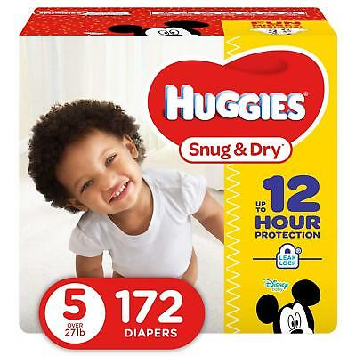 HUGGIES Snug & Dry Baby Diapers, Size 5 (fits 27+ lbs.), 172 Count (Packaging