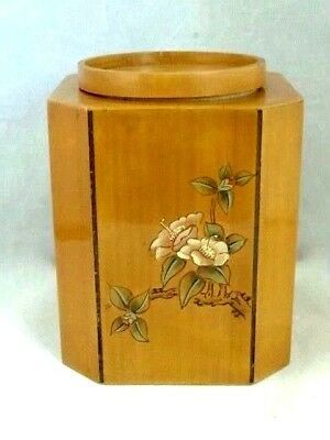 Chinese Lacquered Bamboo Tea Caddy