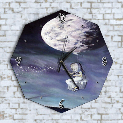 Girl Painting Stars Moon - Home Office Kitchen Kids Living Room Decor Wall Clock