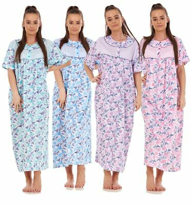 Women Nightwear Floral Print 100% Cotton Short Sleeve Long Nightdress blue M-3XL