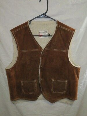Vintage The Leather Shop Sears Suede Western Ranch Vest Men's Xl Sherpa Lined