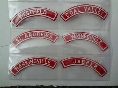 Bsa- Boy Scout Red / Whites  Council W/ State Patch Set Of 6