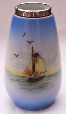Antique Silver Topped Hand Painted Japanese Vase London 1916  Sailing Boat Scene