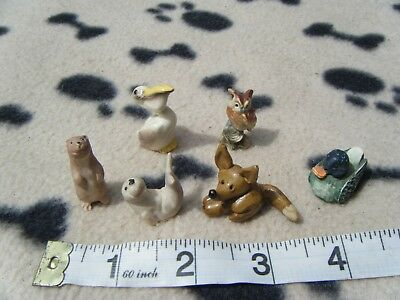 Collection of 6 small animals  Owl, Peter Fagan Duck, Otter, Seal, Pelecan + fox