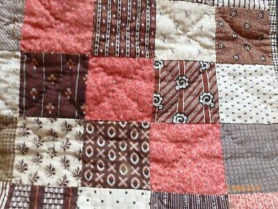 Antique MAINE Printed BABY QUILT Hand Stitched EARLY BROWN FABRICS Civil War Era