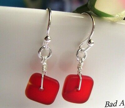 SEA GLASS Square Flat Red STERLING Silver Dangle Earrings .925