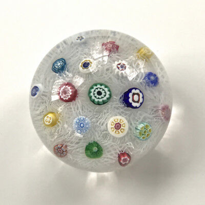 Baccarat Modern Glass Paperweight 1973 Millefiori on Lace Background - Mint Cond