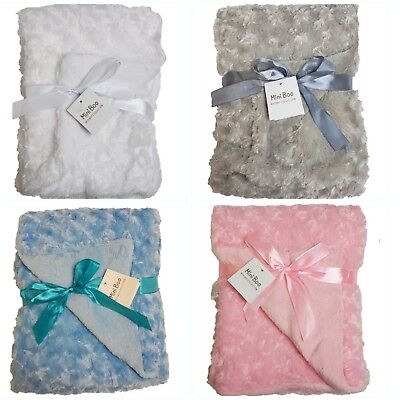 baby blanket perfect gift available in white, pink, blue or grey. Ideal gift