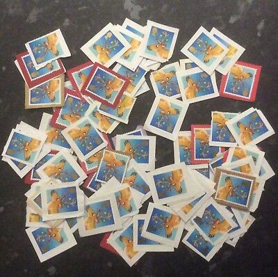 100 unfranked 2nd / second class Xmas / Christmas stamps on paper