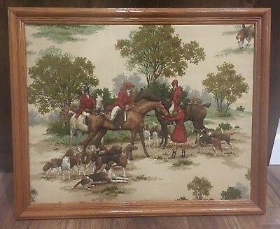 """Vtg Framed 3D Quilted Trapunto Fabric Country Picture Fox Hunt Horses Dogs  22"""""""