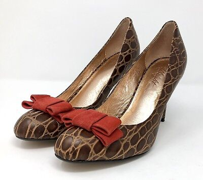 3580cb03114 Anthropologie Miss Albright Darra Pump Size 8 M Shoes Brown Croc Red Bow  Classic