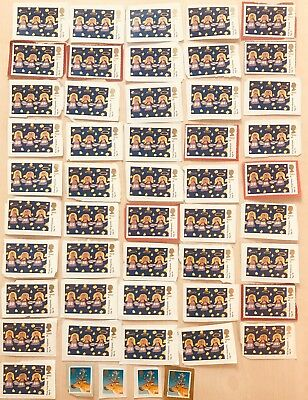 5 unfranked 2nd / second class Xmas / Christmas stamps on paper