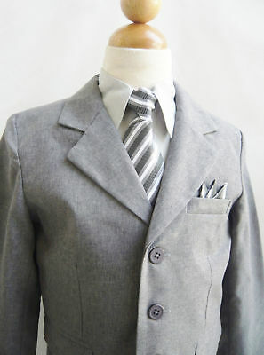 boys dark grey silver chambray suit with matching tie and handkerchief Formal