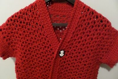 Vintage Hand Knit Red Wool Sweater Vest Cameo Button Closure M