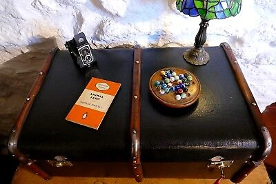 Vintage Banded Steamer Trunk Chest Blanket Box CoffeeTable Locks With Key