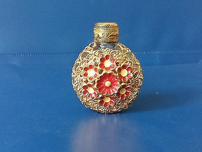 ANTIQUE Vintage Czech Clear Glass Gilt Brass Filigree Mini Perfume Bottle Enamel