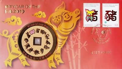 PNC Christmas Island 2019 LNY - Year of the PIG Medallion Limited Edition 3500