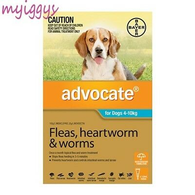 Advocate for Dogs 4-10kg  1, 2,  3 Pack & 6 Pack