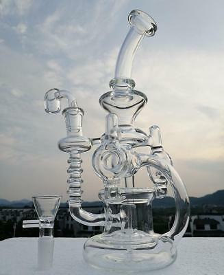 Double Recycler Glass Bong New Glass 14.4mm Joint Thick 4mm Glass Quartz Nail